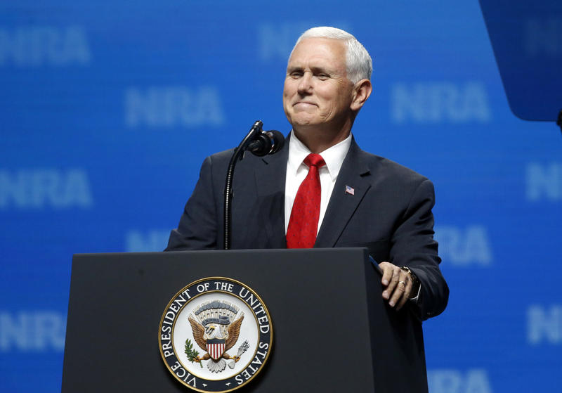 Vice President Mike Pence smiles as he speaks at the National Rifle Association Leadership Forum in Dallas on Friday.