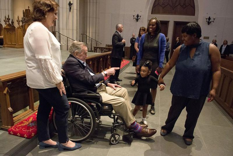 """Former President George H. W. Bush greets the mourners with his daughter Dorothy """"Doro"""" Bush Koch during the visitation of former First Lady Barbara Bush at St. Martin's Episcopal Church in Houston on Friday, April 20, 2018."""