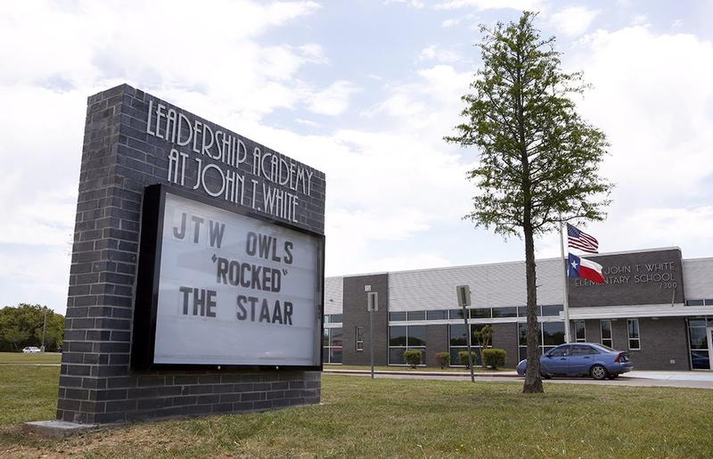 """John T. White Elementary School in Fort Worth, Texas photographed on April 20, 2018. It's one of five """"leadership academies"""" in the Fort Worth school district."""