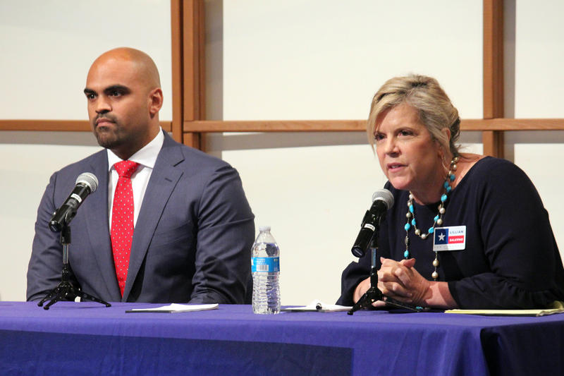 Colin Allred and Lillian Salerno at a debate organized by the nonpartisan Dallas Democratic Forum at Northaven United Methodist Church.