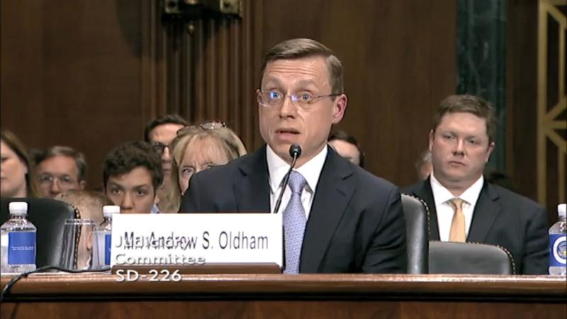 Andrew Oldham testifies to the Senate Judiciary Committee on April 25, 2018.