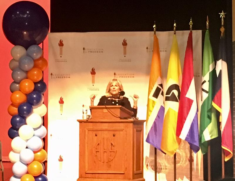 Former Second Lady Jill Biden visited J. W. Adamson High School on Wednesday to celebrate the students who are attending college in the fall. Some of the students have received scholarships through the Dallas County Promise program.