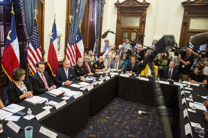 Texas Gov. Greg Abbott hosted the first of three roundtable discussions on school safety, at the Capitol on May 22, 2018.