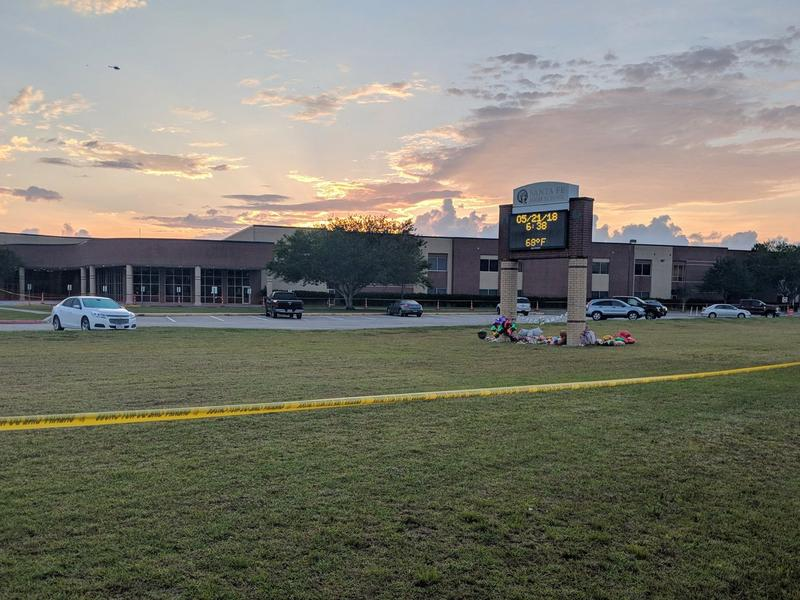 Santa Fe High School in Santa Fe, Texas on May 21, 2018. Ten people were killed in a shooting at the school on Friday.