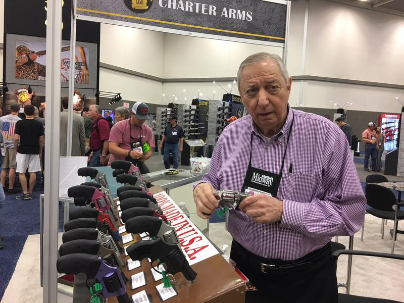 Tom Colli is with Charter Arms. The company's alloy frames makes guns about 4 ounces lighter, which he says is more appealing to women.