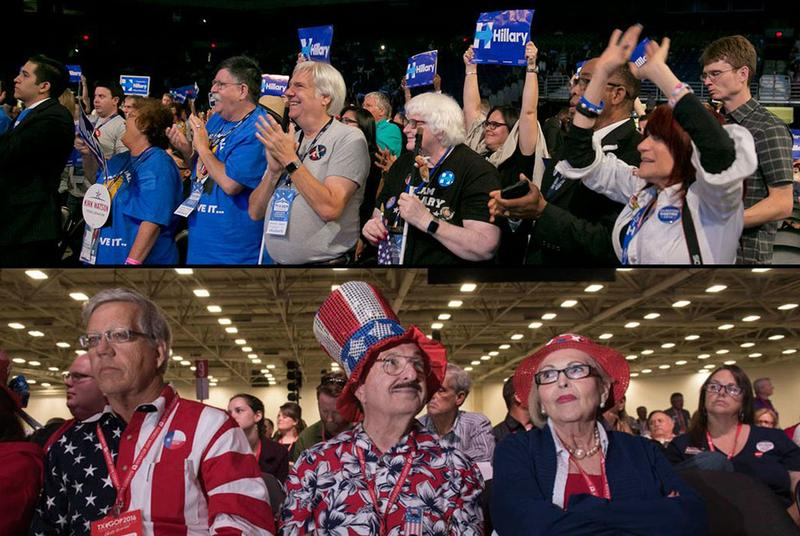 Attendees at the 2016 Texas Democratic Convention in San Antonio (top) and the 2016 Republican Party of Texas Convention in Dallas (bottom).
