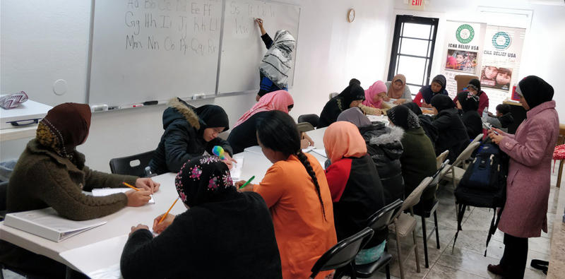 Women participate in English class at the Islamic Circle of North America in Dallas.