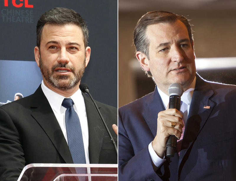Late-night talk show host Jimmy Kimmel (left) and U.S. Sen. Ted Cruz (right) will play a one-on-one basketball game for charity on Saturday in Houston