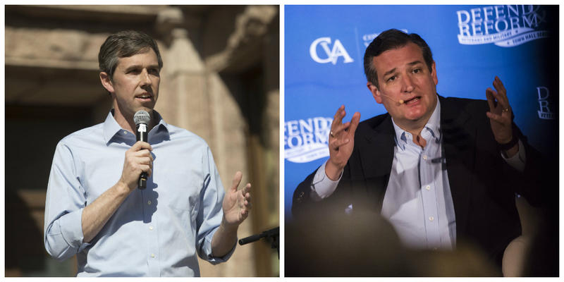From left: U.S. Rep. Beto O'Rourke at a rally in Austin in 2017; Sen. Ted Cruz at a town hall in Austin in 2017.