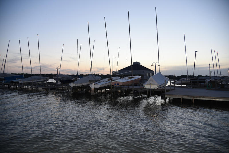 Boats at the harbor of White Rock Lake in Dallas, Texas.