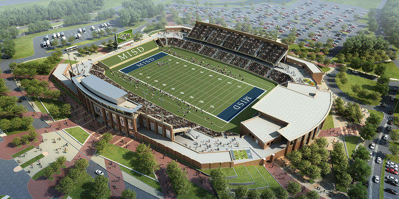 Architectural rendering of the McKinney ISD Stadium and Community Event Center in McKinney.