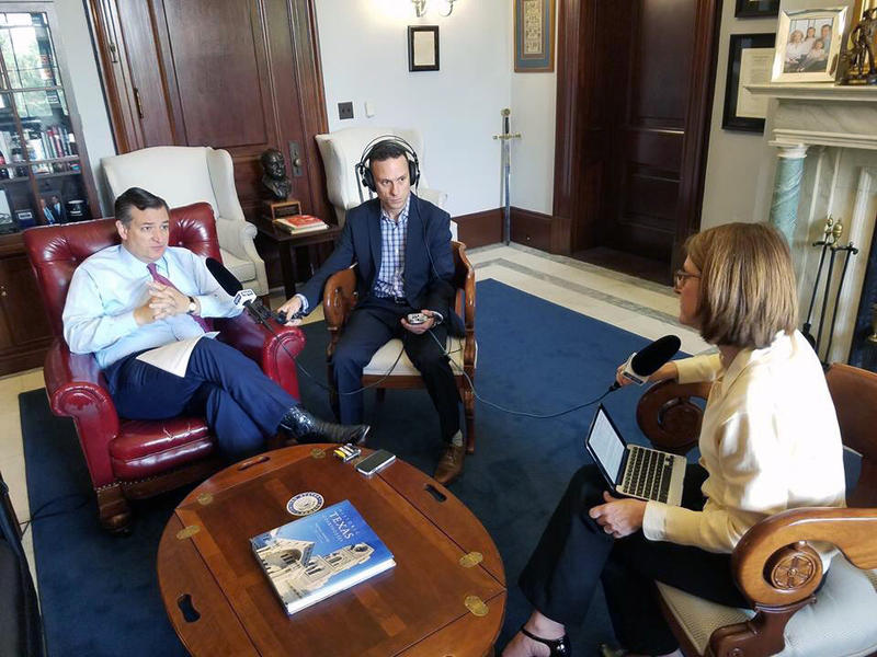 "U.S. Sen. Ted Cruz talks with Krys Boyd (far right), host of KERA's talk show, ""Think,"" while KERA's Stephen Becker records on June 7, 2018 in Washington D.C."