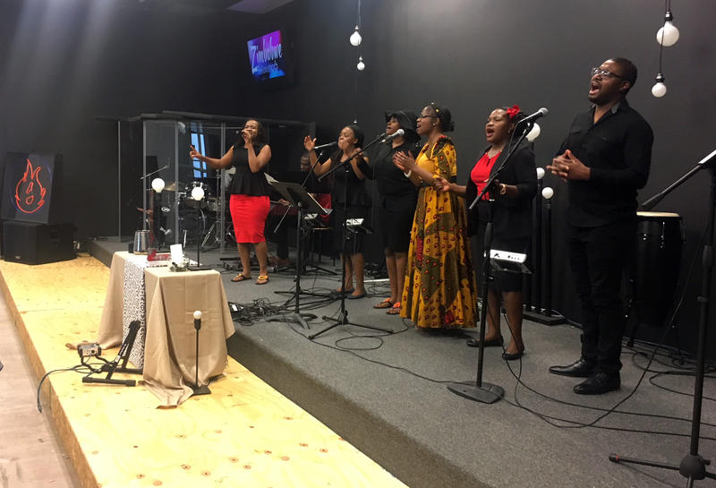 Members of the Zimbabwe Fellowship choir, formed around a decade ago at Lovers Lane United Methodist Church, rehearse together.