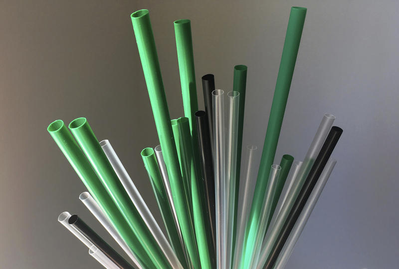 Plastic drinking straws are photographed in New York, May 23, 2018.