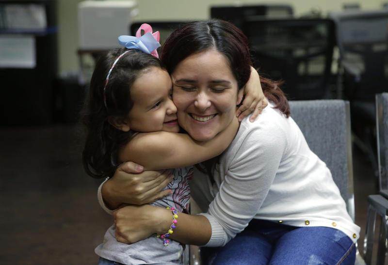 Asylum seekers Natalia Oliveira da Silva and her daughter, Sara, 5, at a Catholic Charities facility on July 23, 2018, in San Antonio.