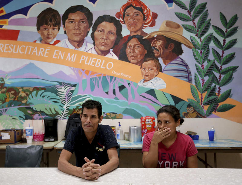 Melvin and Iris, both from Honduras, tell of their separation from their children at the border during a news conference in June in El Paso, Texas.