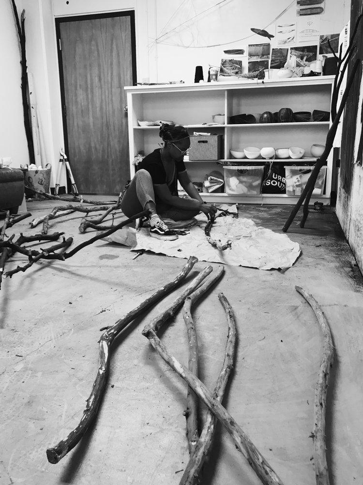Taylor Barnes in her workshop.