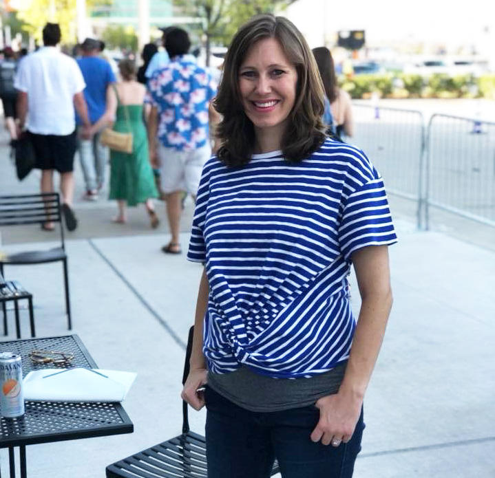 KERA News reporter Courtney Collins, six months into her second pregnancy.