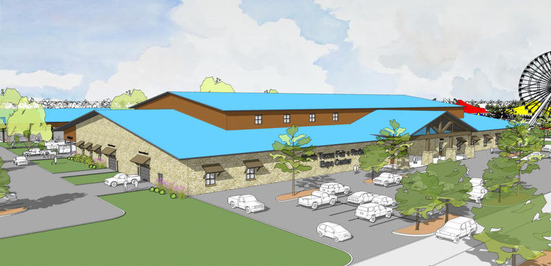 A rendering of the exhibition hall that's part of the planned North Texas Expo Center in Denton, Texas.