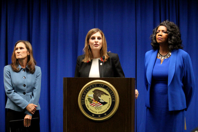 """U.S. Attorney Erin Nealy Cox called MS-13 """"cold, calculating and ruthless."""" Cox announced indictments against eight alleged members alongside Homeland Security Investigations' Katherine Greer and Dallas County District Attorney Faith Johnson."""