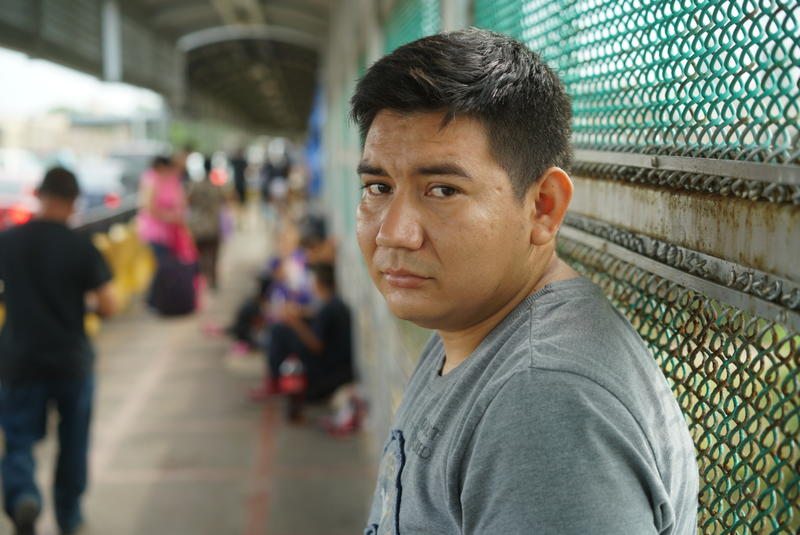 Marcos Samayoa waits on the Brownsville/Gateway International Bridge in June 2018. Reporter Neena Satija has been following the journey of Marcos and his family for The Texas Tribune and the public radio program Reveal.