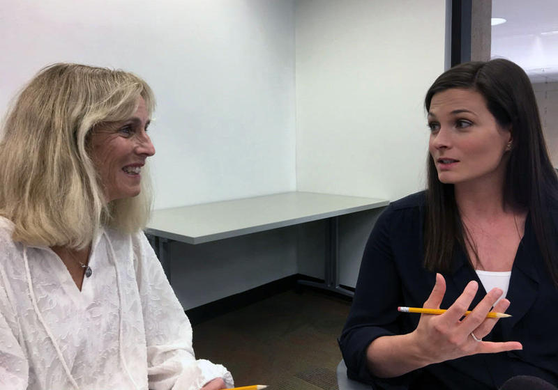 Patti McCord (left) talks to Dr. Stacey Vanvliet, who will be a coach to students when a new medical school opens in Fort Worth, Texas, in 2019.