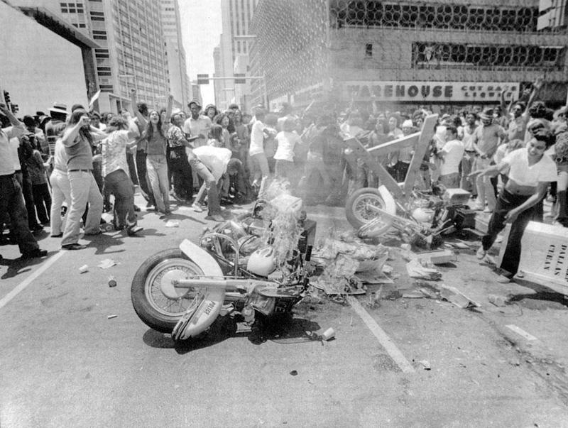 A July 28, 1973, march after the death of Santos Rodriguez erupted in violence in downtown Dallas. Five police officers were hospitalized and nearly 40 people were arrested.