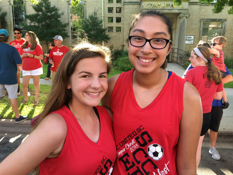 Taya Webb and Sarai Puente, teammates on the Denton United Soccer Club. They marched in the Yankee Doodle Parade.