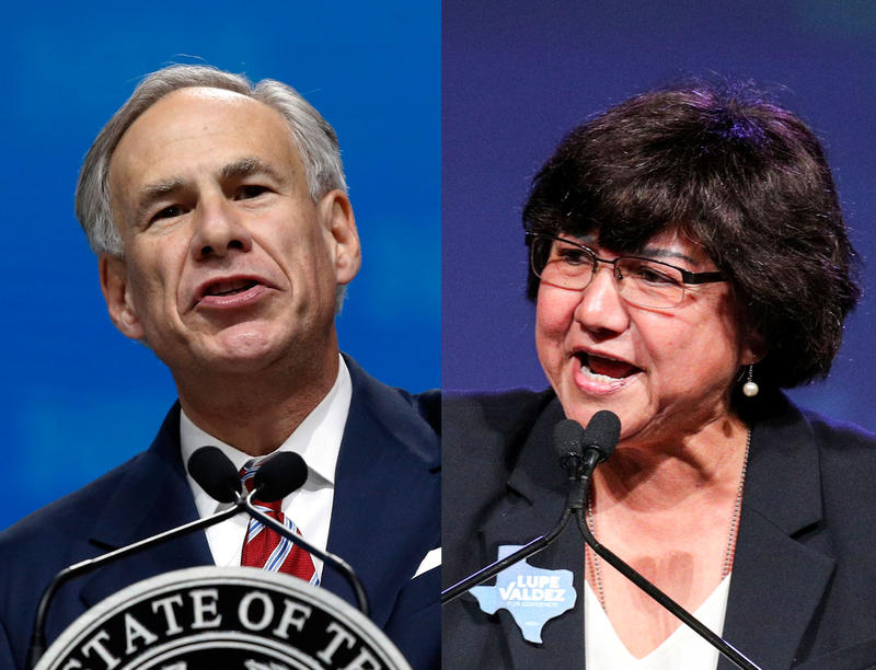 Left: Texas Gov. Greg Abbott speaking in Dallas, Texas, in May 2018. Right: Democratic challenger Lupe Valdez speaking in Fort Worth, Texas, in June 2018.