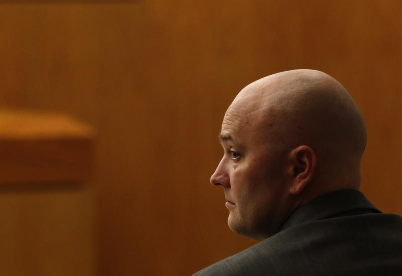 Roy Oliver, fired Balch Springs police officer who is charged with the murder of 15-year-old Jordan Edwards, sits in the courtroom on the second day of his trial at the Frank Crowley Courts Building in Dallas on Aug. 17, 2018.