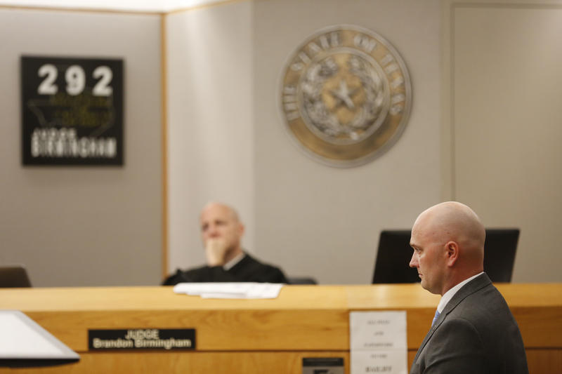 Defendant Roy Oliver, right, former Balch Springs police officer who is charged with the murder of 15-year-old Jordan Edwards, stands during the defense's closing argument at the Frank Crowley Courts Building in Dallas on Aug. 27, 2018.