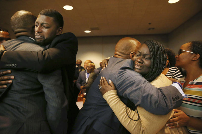 Odell Edwards and Charmaine Edwards, parents of Jordan Edwards, react to a guilty of murder verdict during a trial of fired Balch Springs police officer Roy Oliver on Aug. 28, 2018.