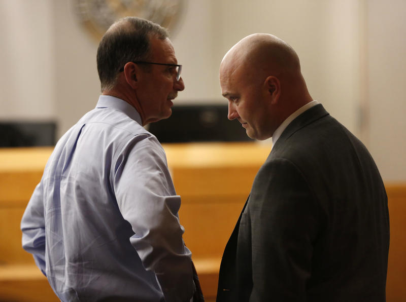 Defendant Roy Oliver, right, a fired Balch Springs police officer charged with the murder of 15-year-old Jordan Edwards, and his defense attorney Bob Gill on Aug. 28, 2018.