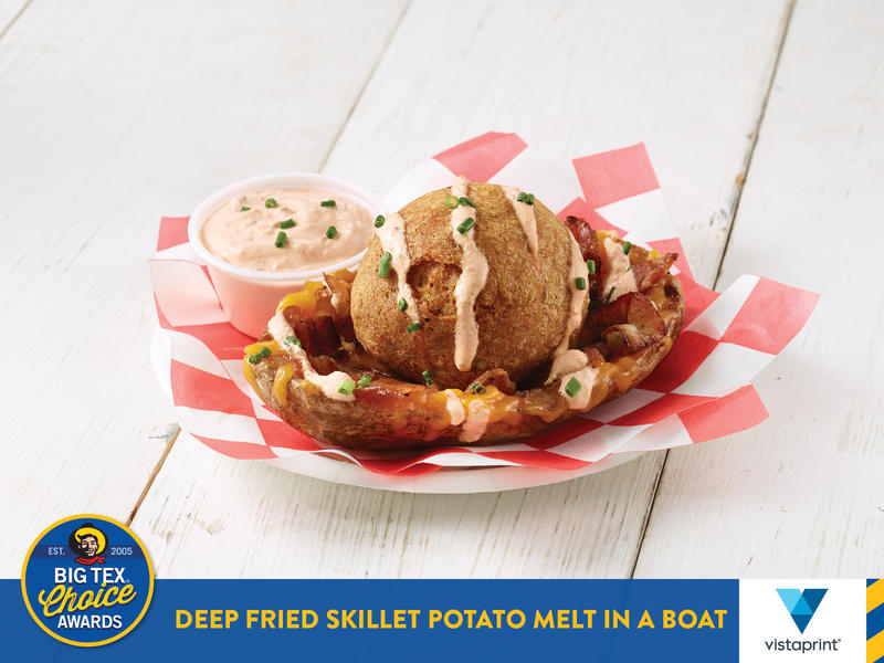 "This Deep Fried Skillet Potato Melt in a Boat is competing for the Best Taste - Savory award later this month. The dish is described as a ""tater tot on steroids."""
