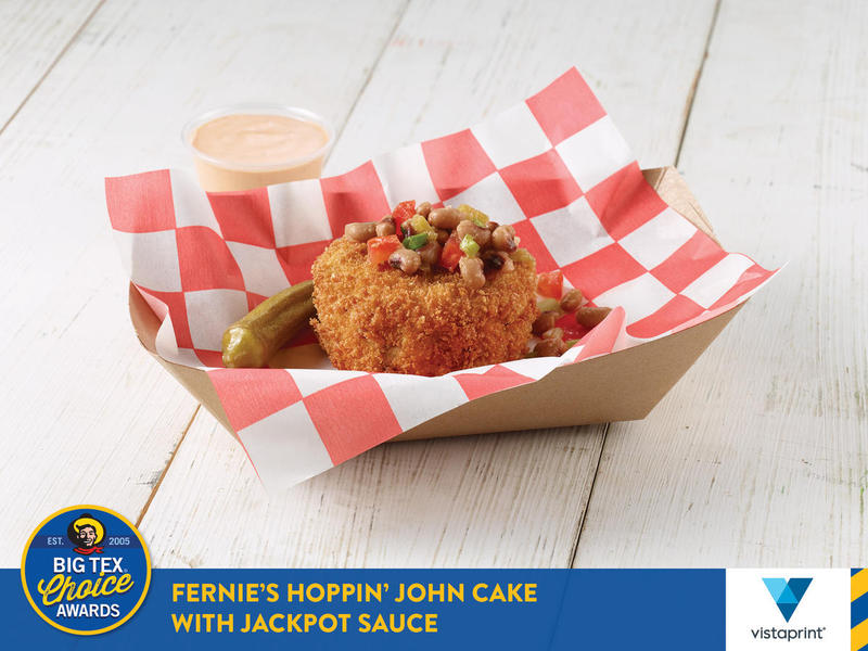 Best Taste - Savory: Black-eyed peas, rice, sausage, green onions and spices are combined with bread crumbs and egg beaters into a cake. Then, it's breaded, deep fried and topped with black-eyed pea relish and pickled okra and served with Jackpot sauce.
