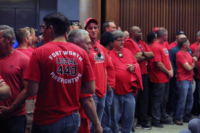 Fort Worth firefighters, police officers, city workers and retirees gathered at a City Council meeting Tuesday night to voice their concerns over the city's pension shortfall.