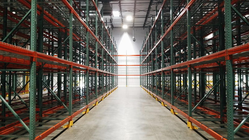 Inside the storage warehouse of the North Texas Food Bank's new Plano facility.
