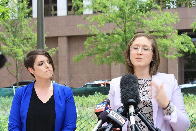 Stacey Bailey, left, in a file photo from May. Bailey sued Mansfield Independent School District alleging that it discriminated against her based on her sexual orientation.
