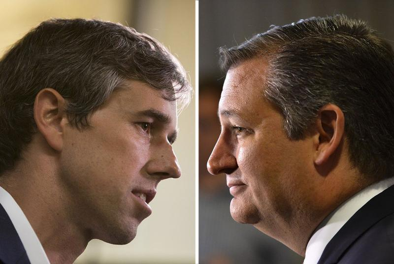 Beto O'Rourke (left) and Ted Cruz.