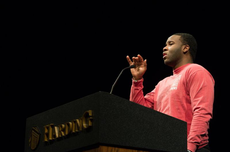 In this March 24, 2014, photo provided by Harding University in Search, Ark., shows Botham Jean, speaking at the university. Authorities said Friday that a Dallas police officer returning home from work shot and killed Jean.