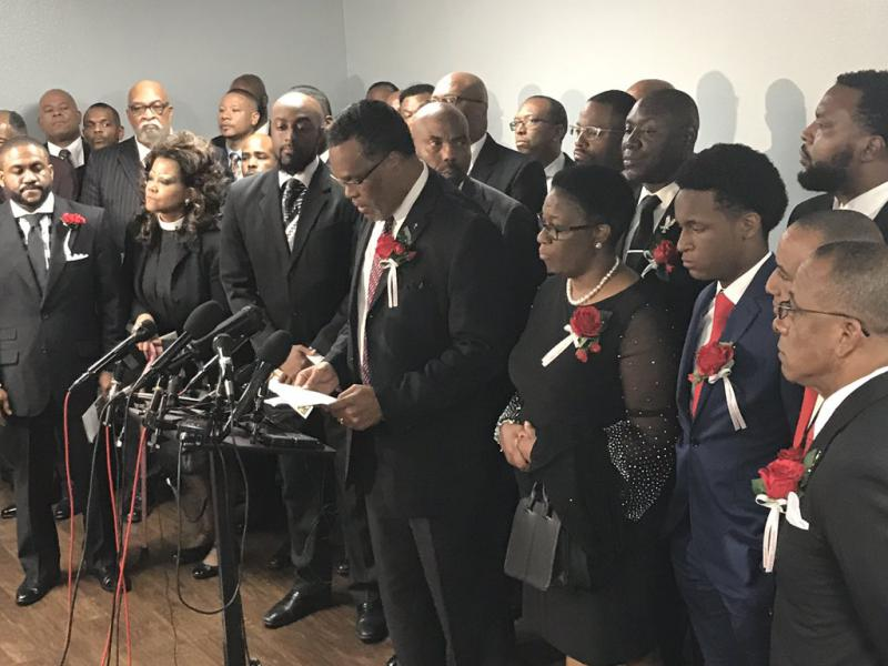 Botham Jean's family members joined faith leaders, attorneys and others following his funeral Thursday.