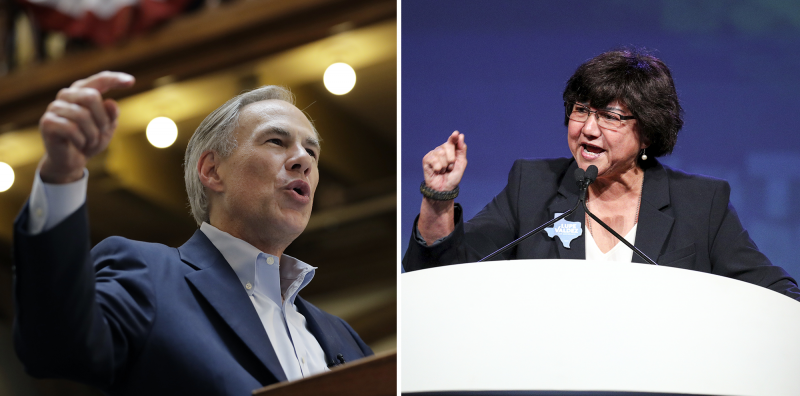 Left: Texas Gov. Greg Abbott speaks at an event where he announced his bid for re-election on July 14, 2017, in San Antonio. | Right: Texas gubernatorial candidate Lupe Valdez speaks at the Texas Democratic Convention on June 22, 2018, in Fort Worth.