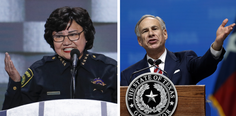 Former Dallas County Sheriff Lupe Valdez (left) and Texas Gov. Greg Abbott.