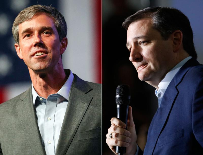 Left: Beto O'Rourke speaks during at the Texas Democratic Convention in Fort Worth in June. Right: Ted Cruz speaks during a presidential campaign rally in Lafayette, Ind., in May 2016.