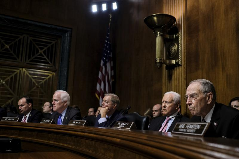 From left: Senators Mike Lee, John Cornyn, Lindsey Graham, Orrin Hatch, and Charles Grassley during the Senate Judiciary Committee hearing for Christine Blasey Ford on Sept. 27, 2018.