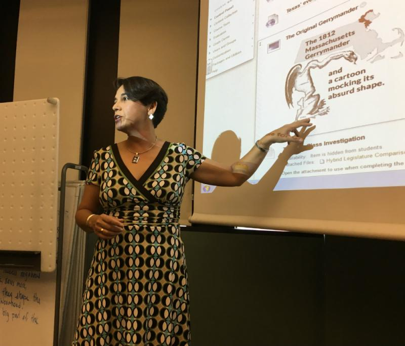Dr. Cindy Castaneda teaches her Eastfield College government students what gerrymandering is and what it looks like.