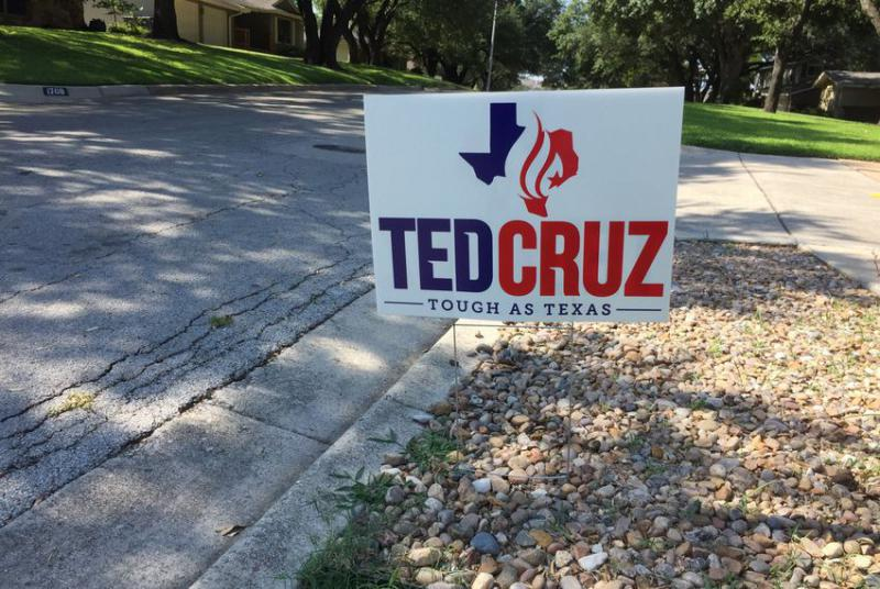 A yard sign supporting U.S. Sen. Ted Cruz in west Fort Worth on August 27, 2018.