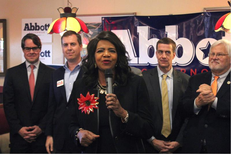 Dallas County District Attorney Faith Johnson campaigns at a Republican get-out-the-vote rally in Irving.