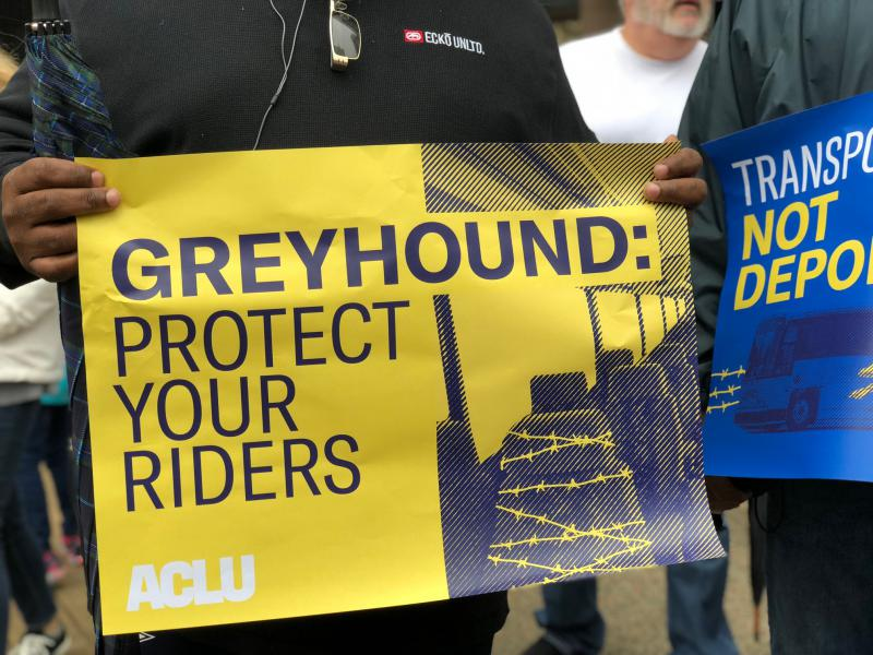 Immigrant advocates marched several blocks in downtown Dallas on Friday to deliver signed petitions to Greyhound's headquarters. They group wants border patrol agents to stop boarding buses without a warrant or probable cause.