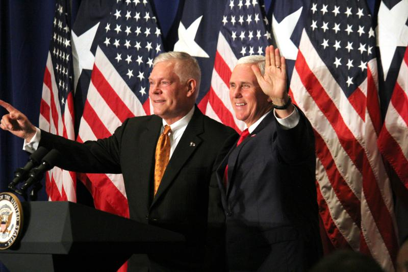 Vice President Mike Pence, right, stumped for Rep. Pete Sessions, left, in Dallas on October 8, 2018.
